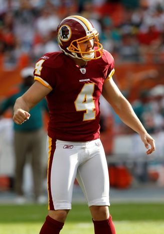 Washington Redskins kicker Graham Gano reacts after missing a field goal attempt during the fourth quarter of an NFL football game against the Miami Dolphins, Sunday, Nov. 13, 2011, in Miami. The Dolphins defeated the Redskins 20-9. (AP Photo/Hans Deryk)