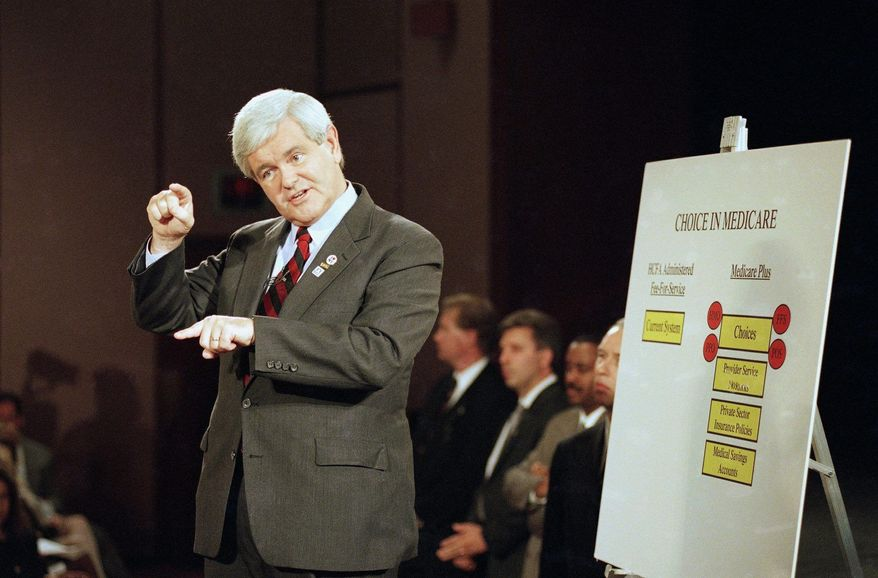 Former House Speaker Newt Gingrich may be haunted by contradictory comments and positions as he pursues the Republican presidential nomination. (Associated Press)