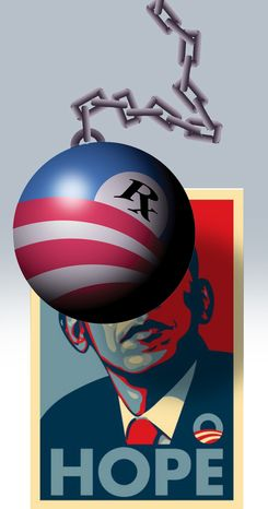 Illustration: Obamacare trouble by Alexander Hunter for The Washington Times