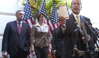 House Speaker John Boehner (right), Ohio Republican, speaks Nov. 15, 2011, during a news conference on Capitol Hill as House Majority Whip Kevin McCarthy (left), California Republican, and Rep. Cathy McMorris Rodgers, Washington Republican, look on. (Associated Press)