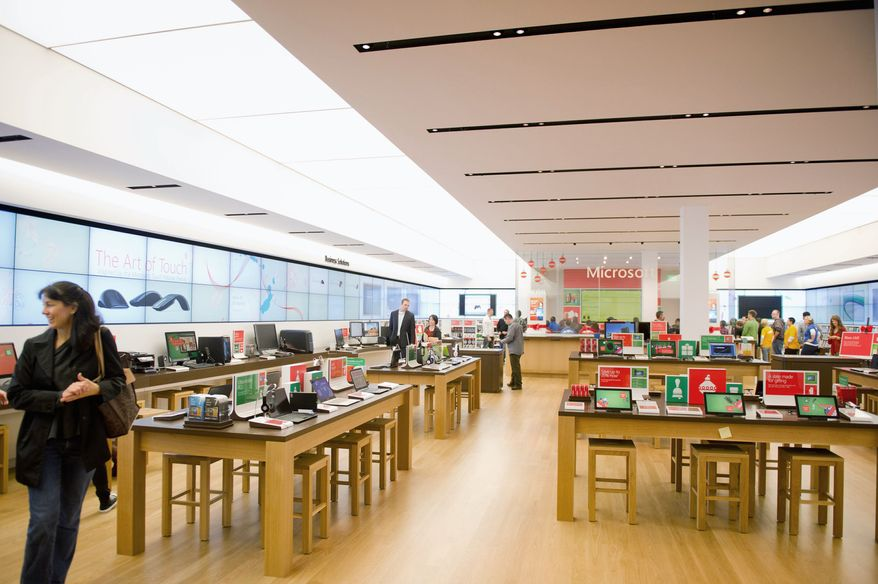 """A Microsoft Store opening Thursday at Tysons Corner Center is the first in the Washington area and just the second east of the Mississippi. It will stock other brands besides Microsoft for an """"interactive"""" experience that a company official says will """"lift all boats."""" (Andrew Harnik/The Washington Times)"""