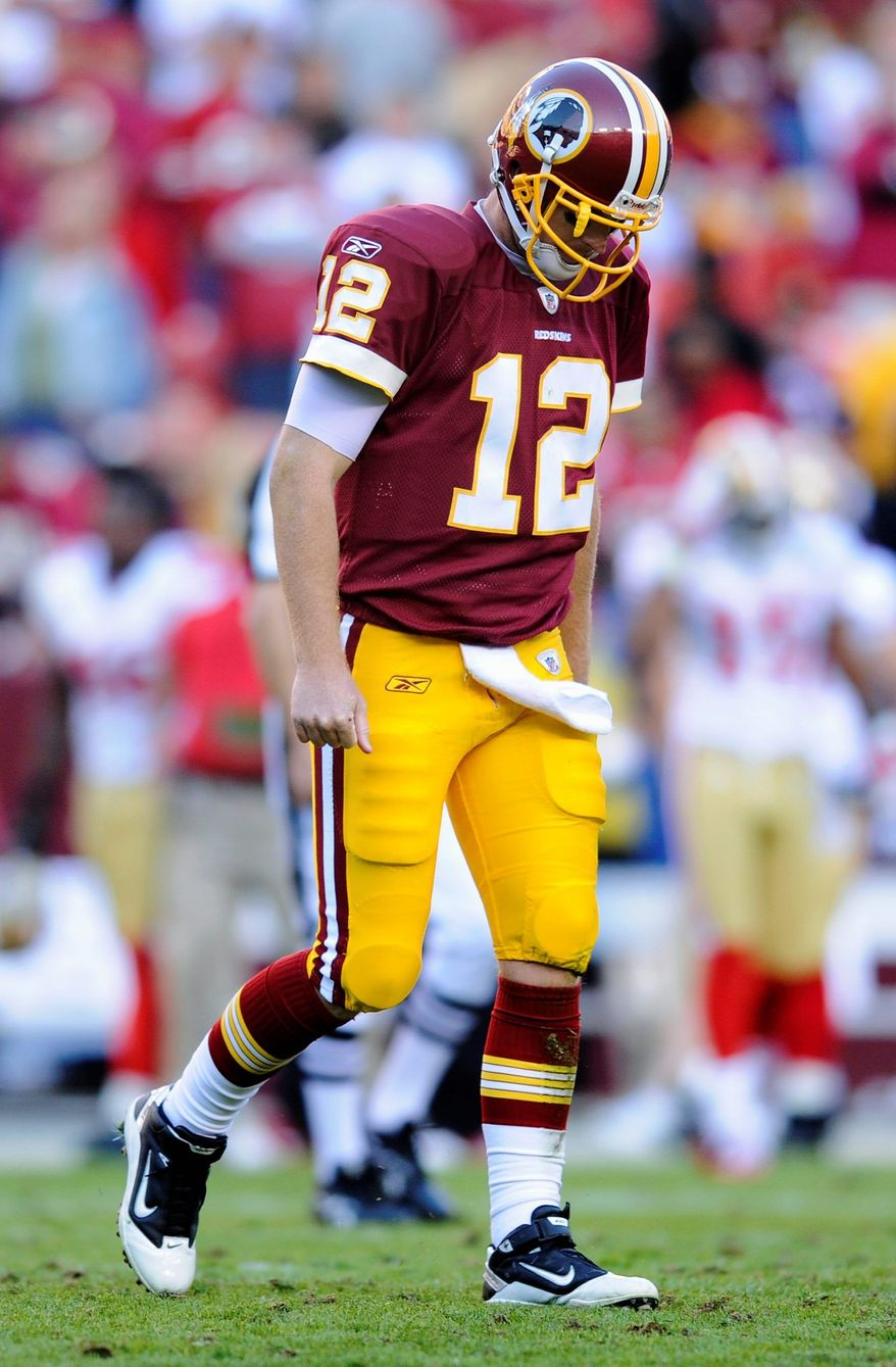 Washington Redskins quarterback John Beck's career record as a starter fell to 0-7 after a 19-11 loss to San Francisco at FedEx Field on Nov. 6. (Associated Press)
