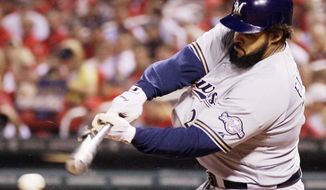Milwaukee Brewers' Prince Fielder breaks his bat as he grounds into a double play during the third inning of Game 3 of baseball's National League championship series against the St. Louis Cardinals Wednesday, Oct. 12, 2011, in St. Louis. (AP Photo/Matt Slocum)