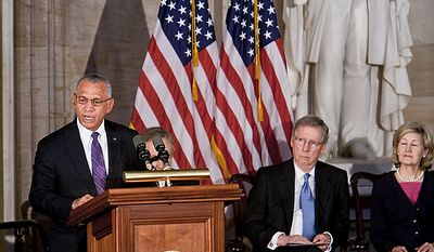 NASA Administrator Charles Bolden Jr. speaks Nov. 16, 2011, during a Congressional Gold Medal ceremony in honor of astronauts Michael Collins, Neil Armstrong, John Glenn and Buzz Aldrin at the Capitol building in Washington. (T.J. Kirkpatrick/The Washington Times)