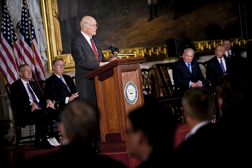 Astronaut John Glenn speaks Nov. 16, 2011, during a Congressional Gold Medal ceremony in honor of Glenn and fellow astronauts Michael Collins, Neil Armstrong and Buzz Aldrin at the Capitol building in Washington. (T.J. Kirkpatrick/The Washington Times)