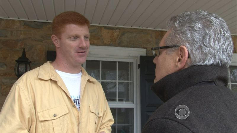 In this screen grab provided by CBS, former Penn State graduate assistant Mike McQueary (left) speaks to CBS News chief investigative correspondent Armen Keteyian on Nov. 15, 2011, at an unknown location. McQueary is cited by a grand jury report as witnessing Jerry Sandusky allegedly sodomizing a 10-year-old boy in a Penn State locker room. (Associated Press/CBS)