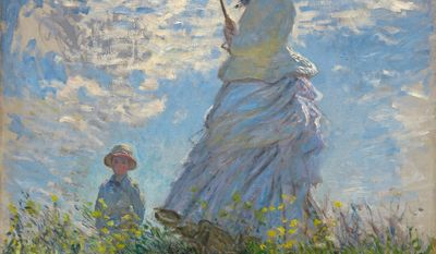 """Woman With a Parasol - Madame Monet and Her Son""  by Claude Monet"