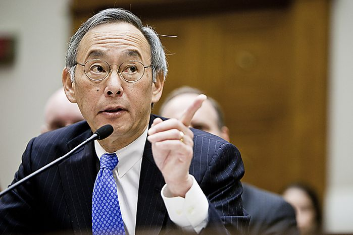 Department of Energy Secretary Steven Chu testifies Nov. 17, 2011, in Washington before the House Committee on Energy and Commerce's investigations panel on the department's handling of federal loans to solar panel manufacturer Solyndra. (T.J. Kirkpatrick/The Washington Times)