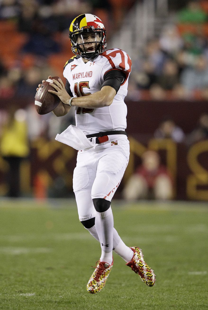 Maryland quarterback C.J. Brown will make his fourth start Saturday against Wake Forest. He has thrown for 490 yards with five touchdowns and four interceptions this season, and also has 387 yards on the ground with three scores. (AP Photo/Patrick Semansky)