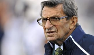 """FILE - In this Oct. 22, 2011 file photo, Penn State coach Joe Paterno stands on the field before his team's NCAA college football game against Northwestern, in Evanston, Ill. Former Penn State coach Paterno has a treatable form of lung cancer, according to his son. Scott Paterno says in a statement provided to The Associated Press by a family representative that the 84-year-old Joe Paterno is undergoing treatment and that """"his doctors are optimistic he will make a full recovery."""" (AP Photo/Jim Prisching, File)"""