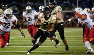 Wake Forest's Chris Givens had eight catches for 181 yards and a touchdown in the 31-10 win over Maryland on Saturday. (AP Photo/Winston-Salem Journal, Lauren Carroll)