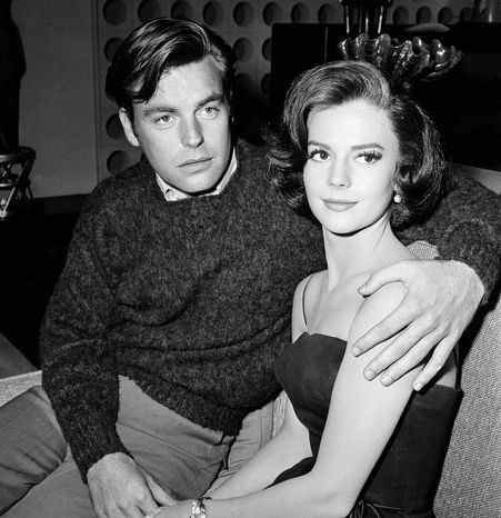 """** FILE ** In a Nov. 25, 1959, file photo, Natalie Wood and her husband Robert Wagner are made up for their roles in """"All The Fine Young Cannibals,"""" in Los Angeles. (AP Photo/DFS, File)"""