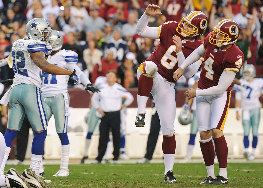 Washington Redskins kicker Graham Gano (4) and holder Sav Rocca (6) react as a 52-yard field goal attempt in overtime misses wide at FedEx Field in Landover, Md., on Sunday, November 20, 2011. (Andrew Harnik/The Washington Times)