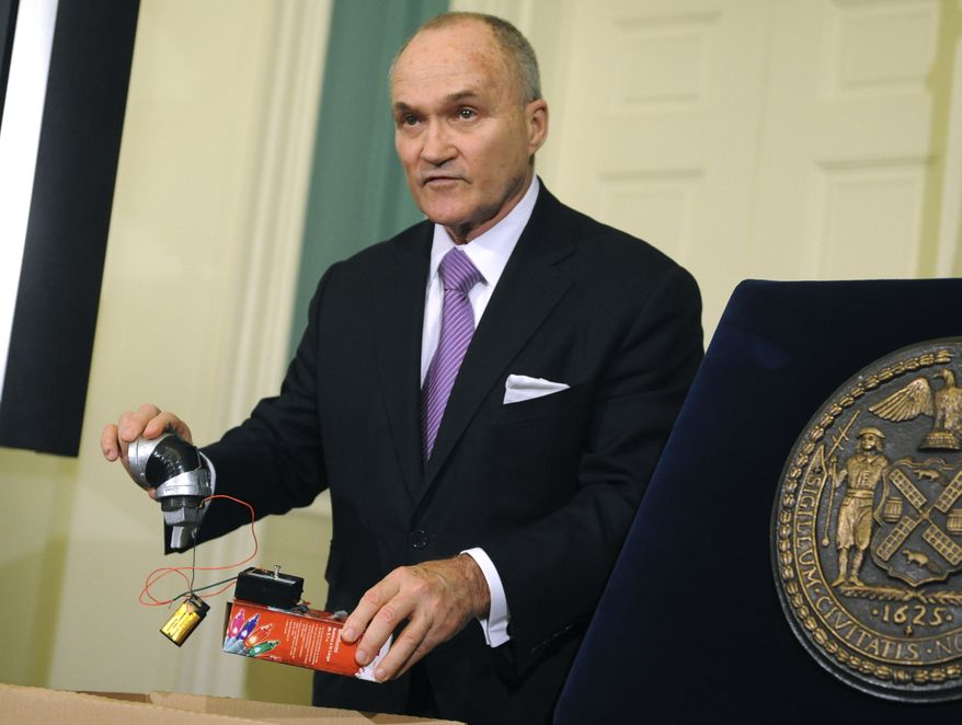 Police Commissioner Raymond Kelly holds a component of a mocked up pipe bomb, Sunday, Nov. 20, 2011, in New York. 27-year-old Jose Pimentel of Manhattan, a U.S. citizen originally from the Dominican Republic, was arrested Saturday for allegedly plotting to bomb police and post offices in New York City as well as U.S. troops returning home. (AP Photo/Louis Lanzano)