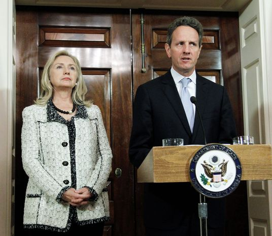 """Secretary of State Hillary Rodham Clinton and Treasury Secretary Timothy F. Geithner announced  new sanctions against Iran on Monday for the purpose of pressuring Tehran to halt its suspected nuclear weapons program. The Treasury Department also named  the Central Bank of Iran  as a primary money-laundering """"concern."""" (Associated Press)"""
