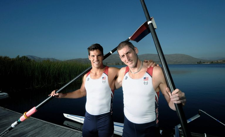 U.S. Olympic rowers Giuseppe Lanzone (left) and Sam Stitt are shown at the Olympic Training Center in Chula Vista, Calif. They are aiming to improve on their performance at the Beijing Olympics in 2008. (Denis Poroy/Special to The Washington Times)