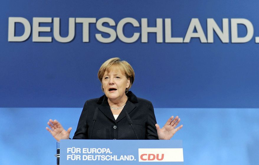 "German Chancellor Angela Merkel voiced strong opposition Tuesday to talk of ""eurobonds"" as a way to solve the European debt crisis."