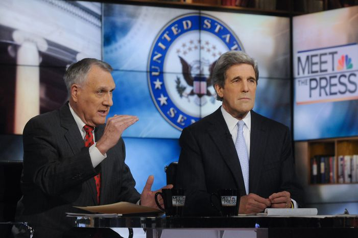 ** FILE ** In this photo provided by NBC News, Sens. John Kyle, R-Ariz., and John Kerry, D-Mass., members of the Joint Select Committee on Deficit Reduction, talk about the status of committee work on Sunday, Nov. 20, 2011, in Washington. (AP Photo/NBC News, William B. Plowman)