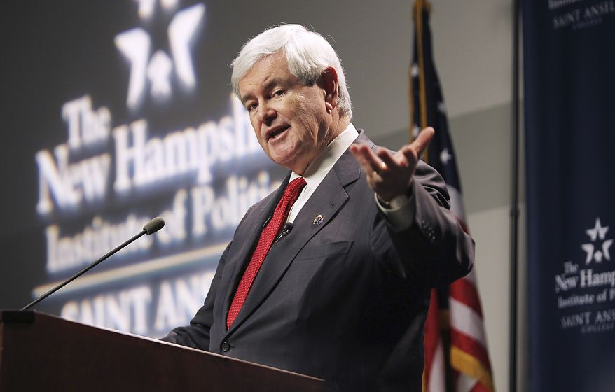 Republican presidential candidate and former House Speaker Newt Gingrich speaks Nov. 21, 2011, at a town meeting at St. Anselm College in Manchester, N.H. (Associated Press)