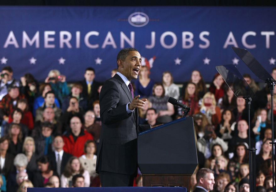 President Obama speaks Nov. 22, 2011, about jobs at Manchester High School Central in Manchester, N.H. (Associated Press)