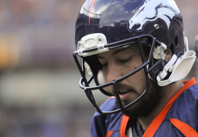 The Denver Broncos released 29-year-old Kyle Orton, and he was claimed by the Kansas City Chiefs on Wednesday. (AP Photo/Joe Mahoney)