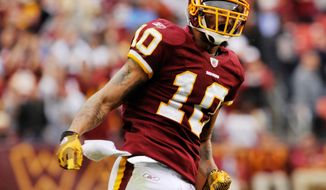 Washington Redskins' Jabar Gaffney celebrates after a catch against the Dallas Cowboys on Nov. 20, 2011, in Landover, Md. The Cowboys won in overtime, 27-24. (Associated Press/The Free Lance-Star)