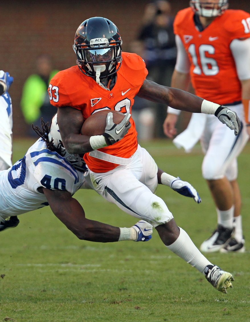 Virginia running back Perry Jones has 883yards and five touchdowns this season on the ground and is also third on the team in receiving with 416 yards and three touchdowns. (AP Photo/Andrew Shurtleff)