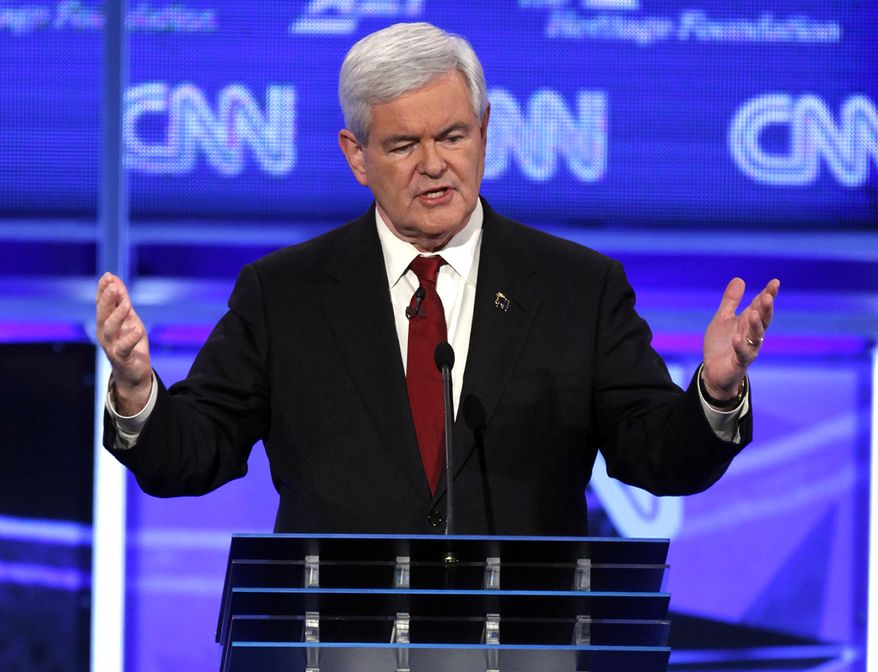 Former House Speaker Newt Gingrich speaks Nov. 22, 2011, at a Republican presidential debate in Washington. (Associated Press)