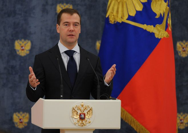Russian President Dmitry Medvedev speaks at an award ceremony in the Gorki residence outside Moscow, Tuesday, Nov. 22, 2011. (AP Photo/Alexander Nemenov, Pool)