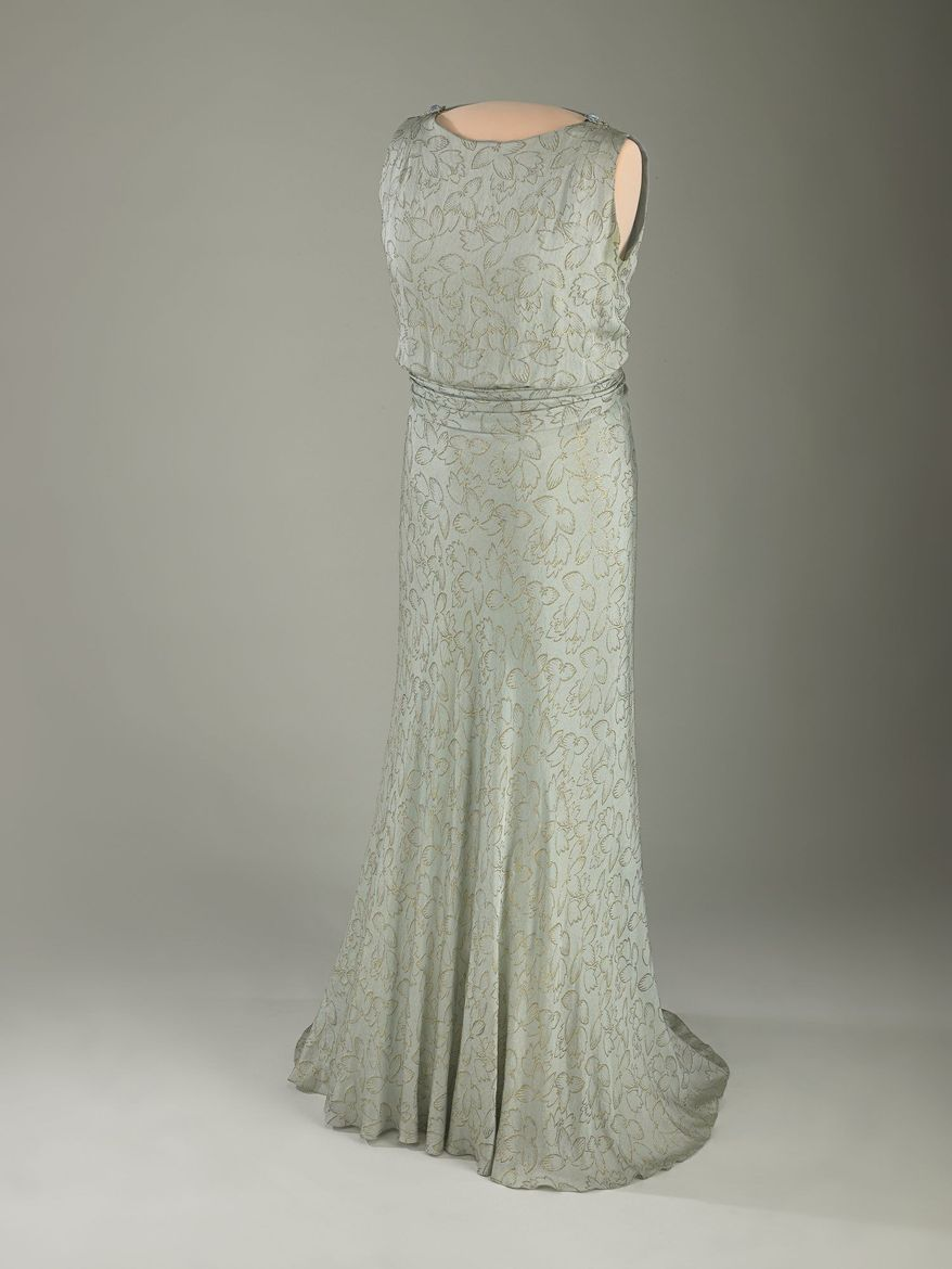 Eleanor Roosevelt's 1933 inaugural gown had detachable long sleeves. It was made of slate-blue silk crepe embroidered with gold thread. Her political activism is well-known but not highlighted in the exhibit. (Photo courtesy Smithsonial National Museum of American History)