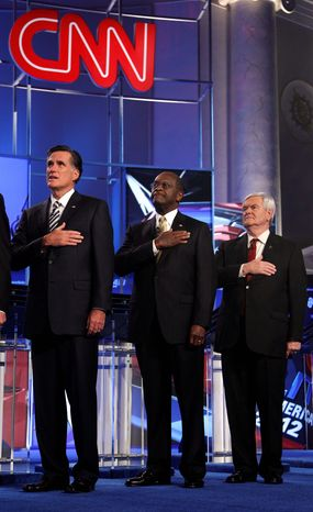 To become the GOP standard-bearer, Mr. Santorum must leapfrog past rivals (from left) Mitt Romney, Herman Cain and Newt Gingrich. (Associated Press)