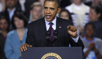 ** FILE ** In this Nov. 22, 2011 file photo, President Barack Obama gestures while speaking at Central High School in Manchester, N.H. The failure of Congress' supercommittee adds a new dimension to the 2012 political contests by drawing political battle lines around broad tax increases and massive spending cuts that are now scheduled to begin automatically in 2013. (AP Photo/Charles Krupa, File)