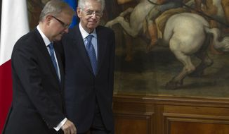 European Commissioner for the Economy Olli Rehn (left) is greeted by Italian Premier Mario Monti as they meet at Chigi's Premier palace in Rome on Nov. 25, 2011. (Associated Press)