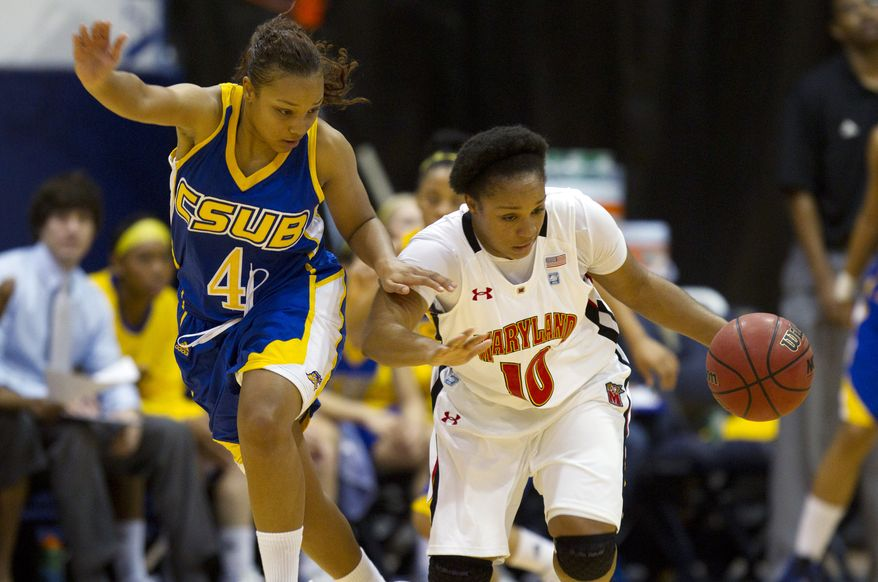 CS-Bakersfield's Ciarra Ford pressures Maryland's Anjale Barrett as she brings the ball down court during the second half, Saturday, Nov. 26, 2011, in Miami. Maryland won 114-83. (AP Photo/J Pat Carter)