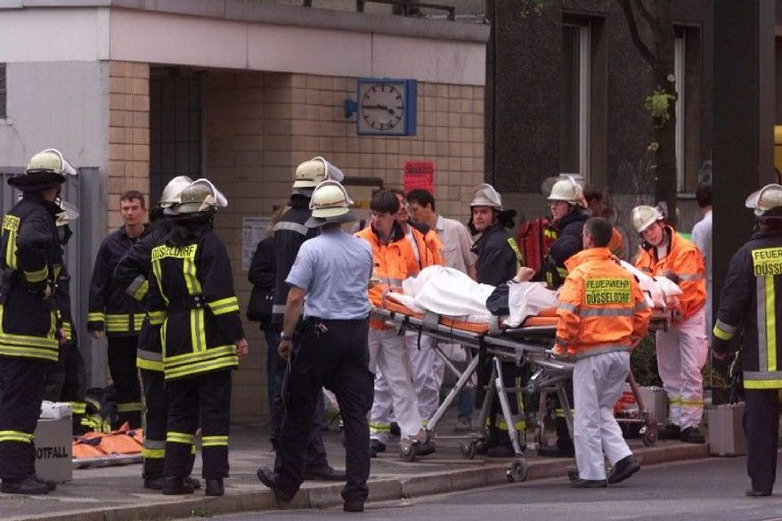 Ten immigrants from the former Soviet Union, six of them Jewish, were injured in an explosion that tore through the entrance tunnel to a central Duesseldorf commuter train station on July 27, 2000. (Associated Press)