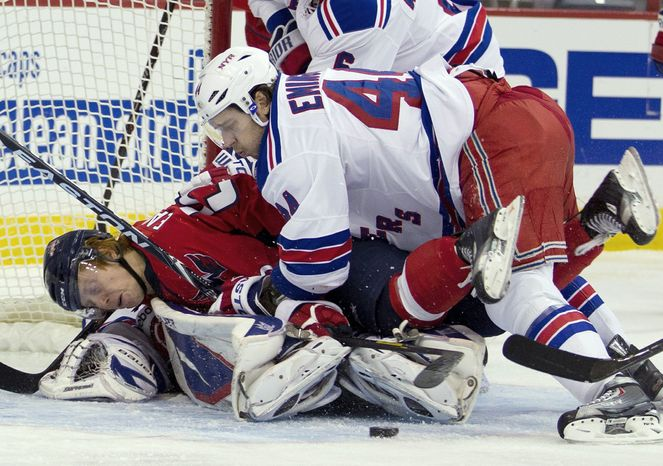 When push came to shove, Steve Eminger and the Rangers had plenty of both in their 6-3 win over the Capitals on Friday. The following night, Tomas Vokoun watched a goal celebration time and again i