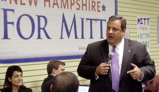 New Jersey Gov. Chris Christie, a Republican, campaigns for GOP presidential hopeful Mitt Romney in Manchester, N.H., on Nov. 9. Surrogates such as Mr. Christie have been scarce thus far this election cycle, partly because voters want to meet the candidates themselves.  (Associated Press)