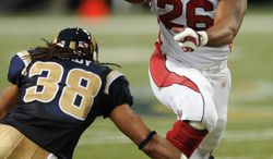 Arizona Cardinals running back Beanie Wells rushed for 228 yards on 27 carries against the St. Louis Rams after gaining just 20 yards on 10 attempts in the teams' first meeting. (Associated Press)