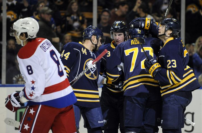 Washington Capitals' Alex Ovechkin was on the ice for four of the Buffalo Sabres' five goals Saturday night. The Sabres won 5-1 and Luke Adam had two goals. (AP Photo/Gary Wiepert)