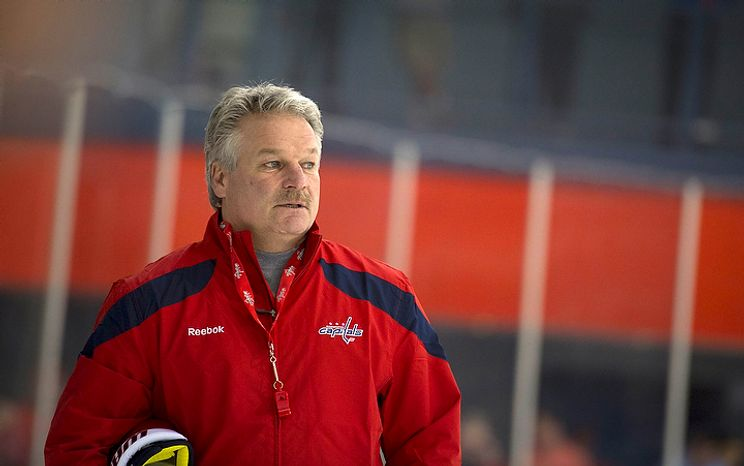 New Washington Capitals Head Coach Dale Hunter takes to the ice with his team as they practice together for the first time, at the Kettler Capitals Iceplex in Arlington, Va, Monday, November 28, 2011. (Rod Lamkey Jr/ The Washington Times)