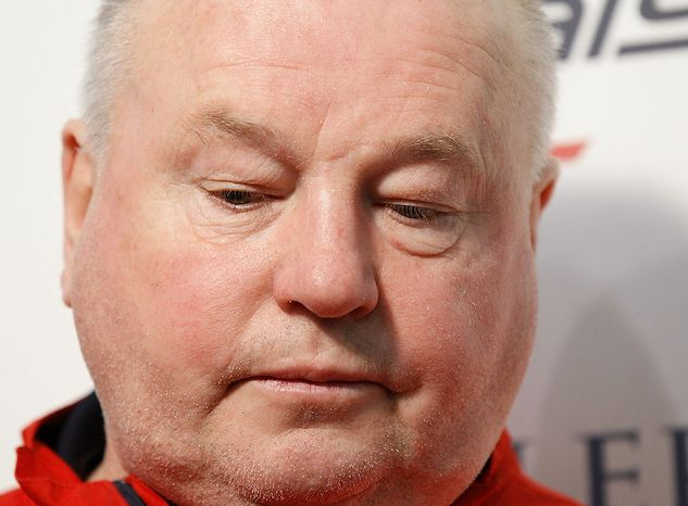 In this May 5, 2011 file photo, Washington Capitals head coach Bruce Boudreau talks during a news conference at the Kettler Capitals Iceplex in Arlington, Va.  The Capitals have fired Boudreau and replaced him with Dale Hunter. The Capitals announced the move Monday, Nov. 28, 2011. (AP Photo/Luis M. Alvarez, File)