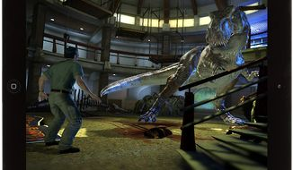 Jurassic Park's chief veterinarian Gerry Harding encounters a tyrannosaurus rex in the iPad challenge Jurassic Park: The Game.
