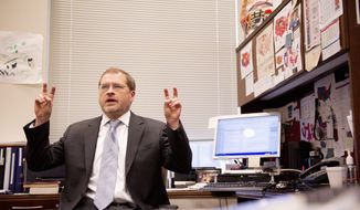 """Americans for Tax Reform President Grover Norquist """"is hilarious,"""" says an acquaintance. """"If you've only seen him in little sound bites talking about tax policy, you're missing out."""" Mr. Norquist, who writes a lot of his own jokes, will compete Wednesday night at the D.C. Improv in Northwest for the title of """"the Funniest Celebrity in Washington."""" (Andrew Harnik/The Washington Times)"""