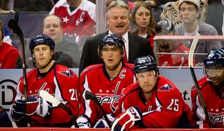 ** FILE ** New Washington Capitals Head Coach Dale Hunter watches action with Washington Capitals left wing Alex Ovechkin (8), Washington Capitals center Brooks Laich (21), and Washington Capitals left wing Jason Chimera (25) during the first period of his first game as head coach against the St. Louis Blues, Washington, D.C., Nov. 29, 2011. (Andrew Harnik/The Washington Times)