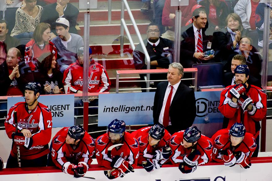 New Washington Capitals Head Coach Dale Hunter and the Washington Capitals bench watch game action in the final minutes of the third period as the Washington Capitals take lose to the St. Louis Blues 2-1, Washington, DC, November 29, 2011. (Andrew Harnik/The Washington Times)