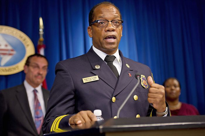 """D.C. Fire and EMS Chief Kenneth Ellerbe said Wednesday that his staff-scheduling plan """"will not reduce services one bit,"""" adding that """"safety is not an issue."""" (Barbara L. Salisbury/The Washington Times)"""