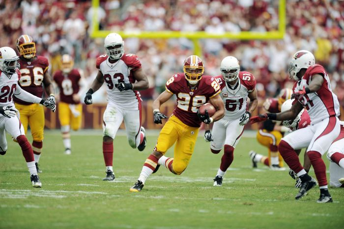 Washington Redskins rookie running back Roy Helu was given his first start in his 11th game, during which he ran for 108 yards and a touchdown