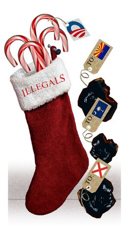 Illustration: Illegal stocking by Alexander Hunter for The Washington Times