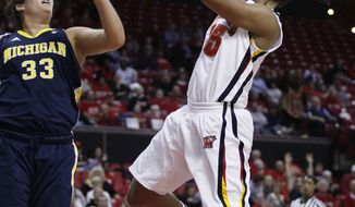 Maryland forward Alyssa Thomas, right, shoots in front of Michigan's Carmen Reynolds in the second half in College Park, Md., Wednesday, Nov. 30, 2011. Thomas scored a game-high 24 points to Maryland's 74-65 win. (AP Photo/Patrick Semansky)