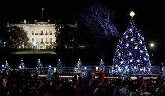 **FILE** The National Christmas Tree is pictured after it was lit by President Barack Obama, first lady Michelle Obama, daughters Malia and Sasha Obama and and mother-in-law Marian Robinson, at the Ellipse across from the White House in Washington, Thursday, Dec., 1, 2011. (AP Photo/Pablo Martinez Monsivais)